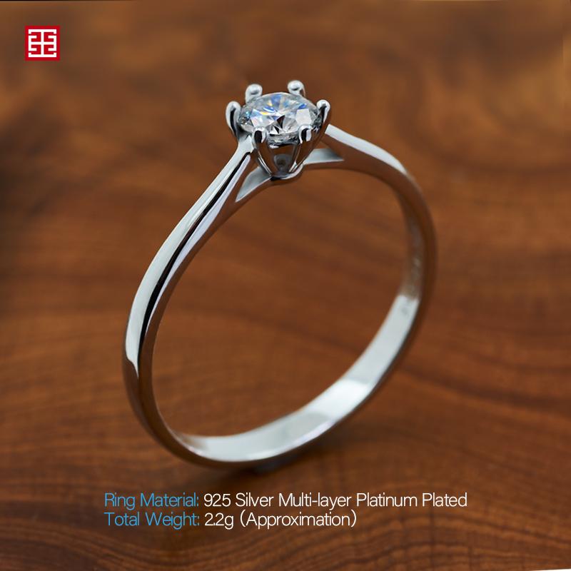 GIGAJEWE 0.3ct 4mm Round Cut EF VVS1 Moissanite 925 Silver Ring Diamond Test Passed Fashion Girlfriend Women Girlfriend Gift