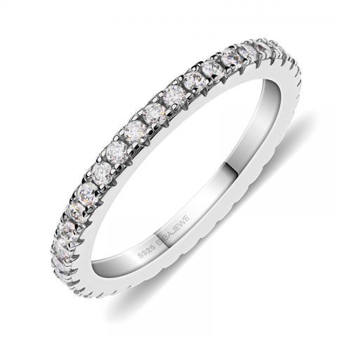 GIGAJEWE Moissanite 1.5mm Round Cut White D VVS1 925 Silver Full Enternity Ring Diamond Test Passed Fashion Girlfriend Gift