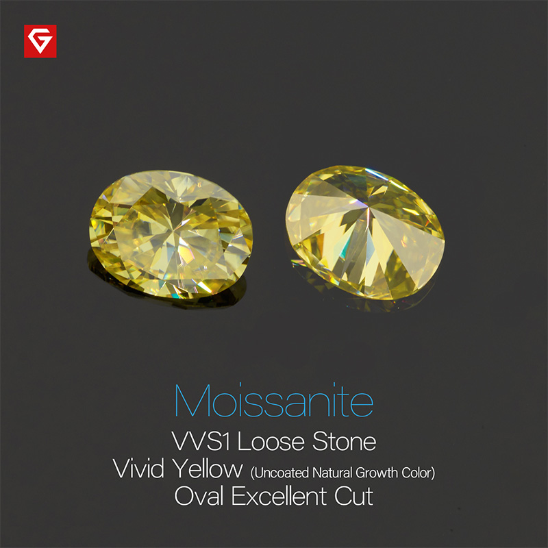 GIGAJEWE Customized Rare Oval Cut Vivid Yellow VVS1 Moissanite Loose Diamond Test Passed Gemstone For Jewelry Making